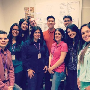 FSOP P4 student John Chen (center) shares a photo  with Prati-Donaduzzi's  quality assurance team  in Brazil.