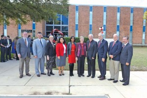 (Pictured L-R) Gary Henry, UIW board of trustees member; Manuel Villa, Brooks City Base board vice chair; Dr. Robyn Madson, UIW School of Osteopathic Medicine founding dean; Rebecca Viagran, San Antonio councilwoman - District 3; Ivy Taylor; San Antonio mayor; Sr. Teresa  Stanley, CCVI; Dr. Louis Agnese, UIW president; Lloyd Doggett, congressman (TX–35); Tommy Adkisson, Bexar County commissioner, Precinct 4; and Leo Gomez, Brooks City Base president and CEO.