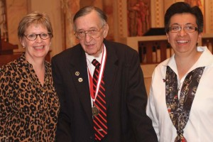 UIW Provost Dr. Kathleen Light (left) and the Sisters of Charity of the Incarnate Word Congregational Leader Sr. Teresa Maya, CCVI (right), pose with Dean of Alumni Emeritus Dr. Dick McCracken, recognized for his 50 years with the university.