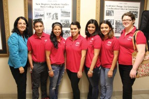 Monica Cruz (left), director of the Ettling Center for Civic Leadership, with student Cardinal Community Leaders. The center provides an opportunity for undergraduate students to deepen and broaden their leadership capacity through service.