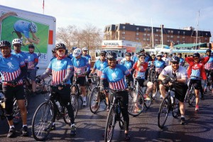 Skelton poses with fellow Wounded Warrior Project cyclists.
