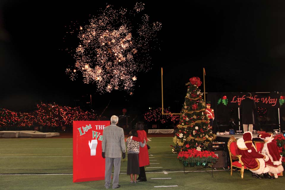 Over 7,000 guests attended Light the Way at Gayle & Tom Benson Stadium for the official lighting of the campus for the holidays.