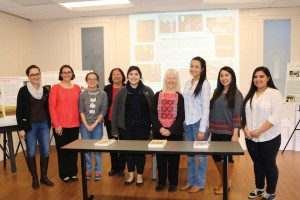 """Metz-Yeverino (second from left) and fellow students pose with Kirk (center) before presenting """"Sisters' Stories: A Living Legacy"""" at the Heritage Center."""