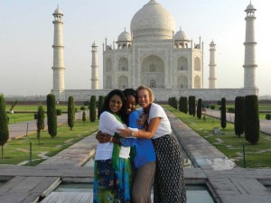 Tombo with Nath (left) and Andrade (right) while visiting the Taj Mahal in Agra, India.