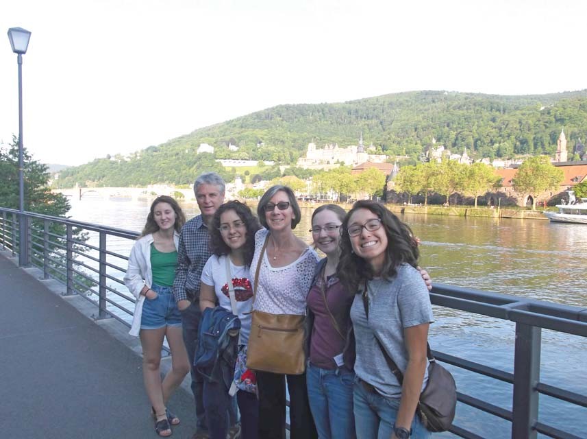 (L-R) Fritts, Ambrose, student Yolanda Martinez, Loden, Davis, and Salinas share a photo above the Neckar River in Heidelberg.