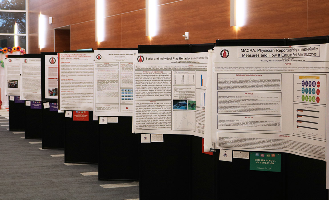 Scores of research posters dotted the Student Engagement Center's mezzanine and ballroom.
