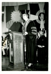 Sr. Margaret Patrice Slattery, CCVI, former IWC president, speaks at commencement, 1981.