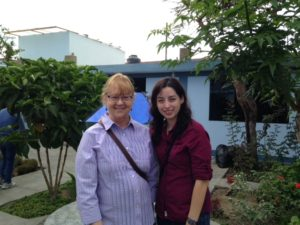 Dr. Senne-Duff and a student in Chimbote, Peru.