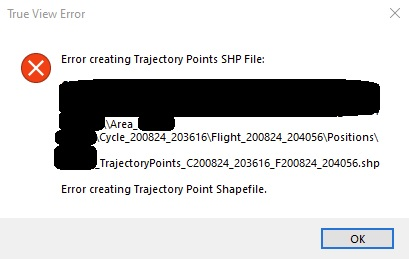Error Creating Trajectory Points SHP File error message
