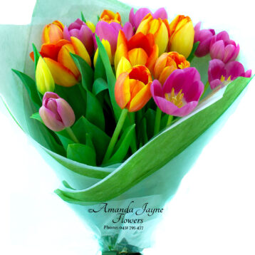 Bright mix coloured Tulip Bouquet