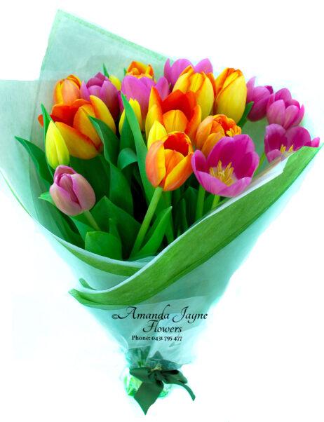 Bright mix coloured Tulip Bouquet