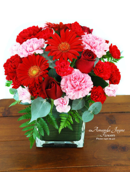 Ruby vase flower arrangement