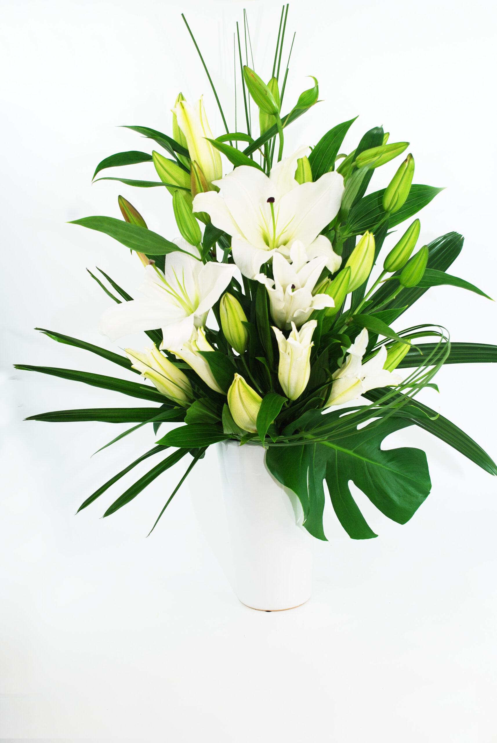 Lilly White Tall Vase Arrangement