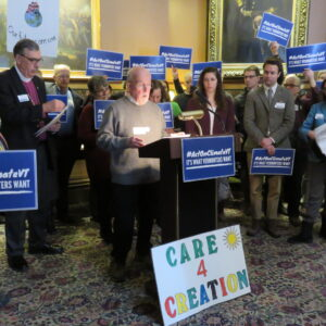 VTIPL Board President Ron McGarvey opened the Press Conference in the Cedar Creek Room at the State House