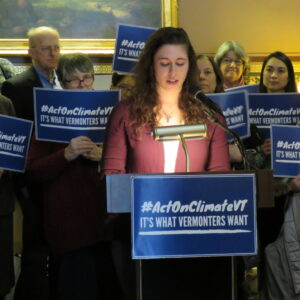 UVM Student and member of Ascension Lutheran Church of South Burlington Morgan Dreibelbis addressing the Press Conference