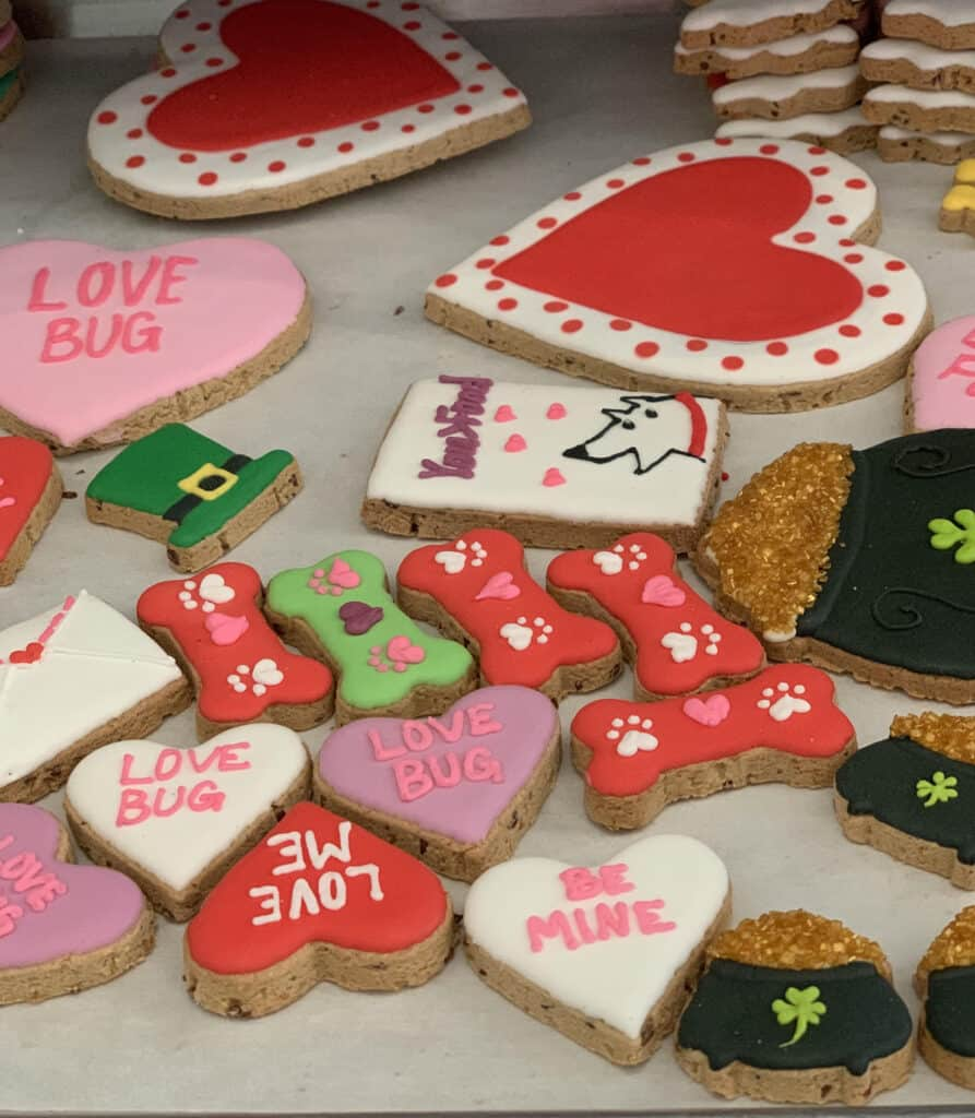 valentines day and st patrick's day dog treats