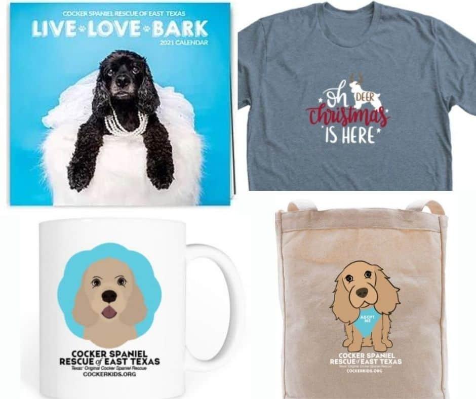 Cocker Spaniel Rescue of East Texas t-shirts and calendar