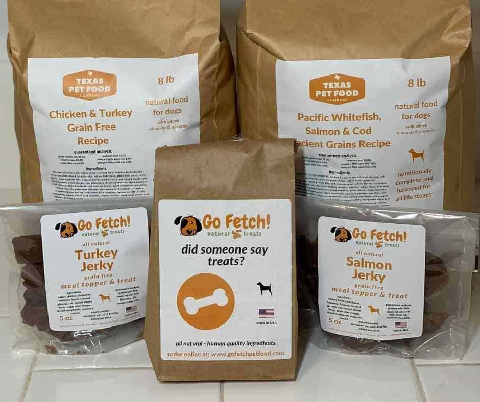 Texas Pet Food Company packaging showing dog food with custom mix ins plus treats and jerky