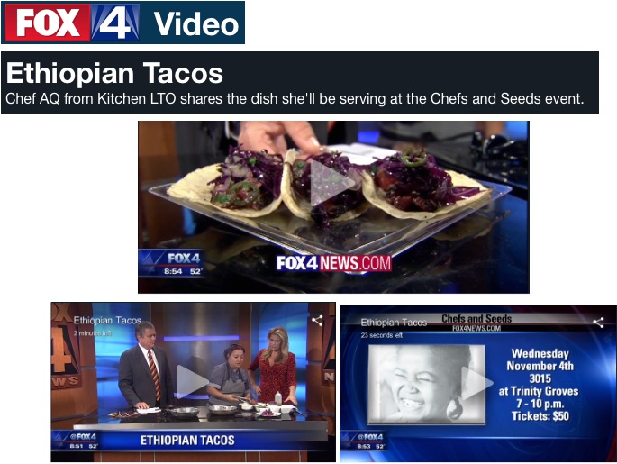 Fox4 highlights Chefs and Seeds dish by Chef AQ