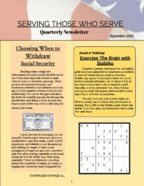 Serving Those Who Serve's Quarterly Newsletter- September 2018