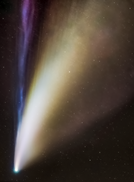 photo of comet, sky, ion tail