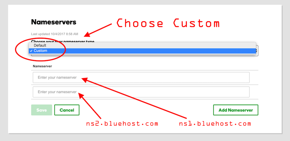 How to point domain from GoDaddy to Bluehost and change nameservers