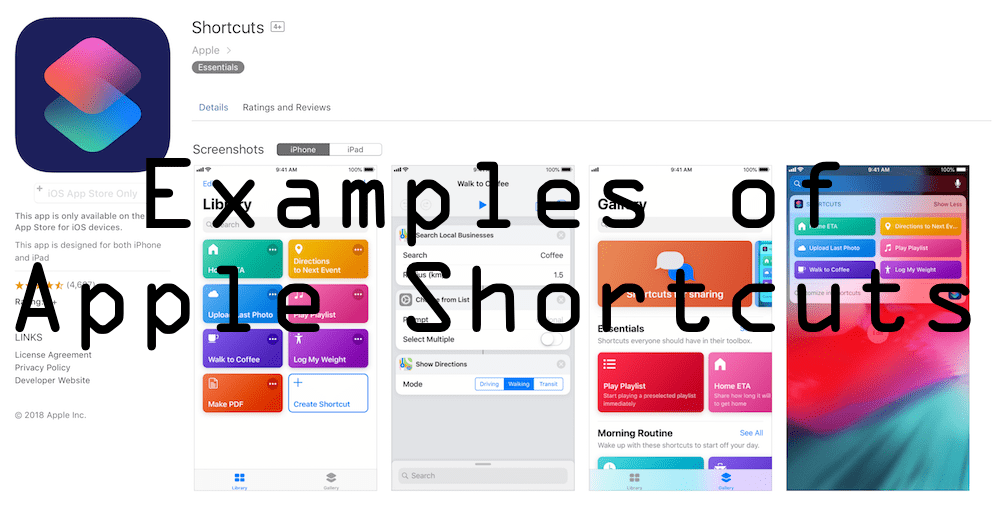 Examples of Apple Shortcuts