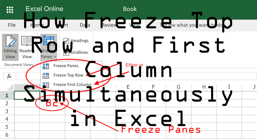 How Freeze Top Row First Column Simultaneously in Excel