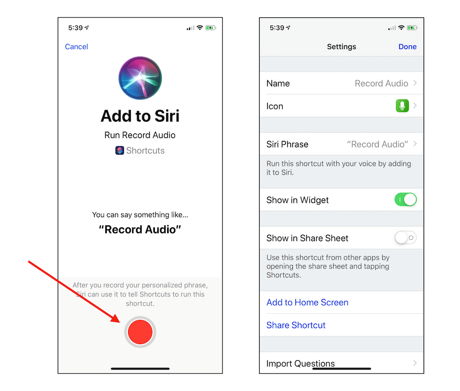 How to Find Voice Memos From iPhone Record Audio Shortcut 5