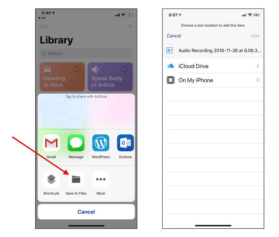 How to Find Voice Memos From iPhone Record Audio Shortcut 7