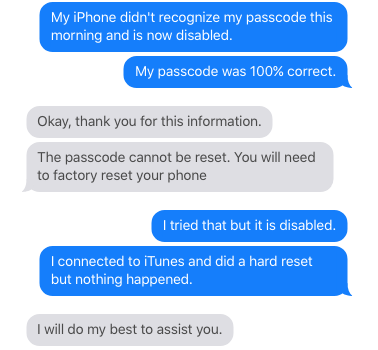 iPhone didn't recognize my password and is now disabled