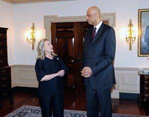 Hilary Clinton and Kareem Abdul-Jabbar