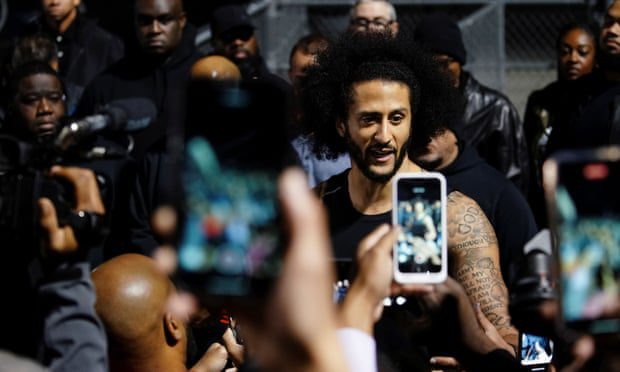 'The attempt to drown out Kaepernick's voice has been going on since he first took a knee'. Photograph: Elijah Nouvelage/Reuters