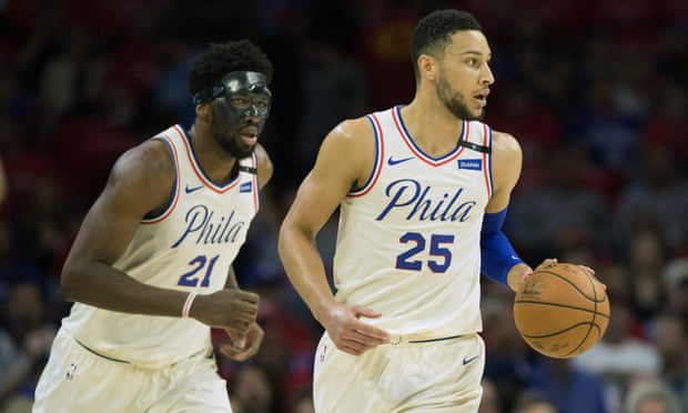 Philadelphia's Ben Simmons (25) and center Joel Embiid (21) would both make my 11-man squad. Photograph: Bill Streicher/USA Today Sports