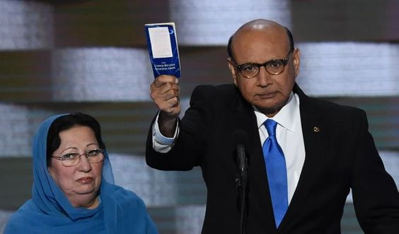 Khizr Khan holding his personal copy of the US Constitution while addressing delegates on the fourth and final day of the Democratic National Convention at Wells Fargo Center in Philadelphia, Pennsylvania, July 28, 2016.