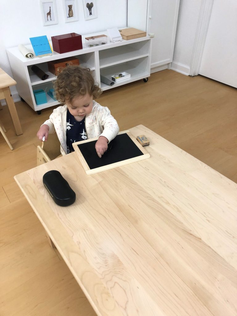 Toddler drawing independently