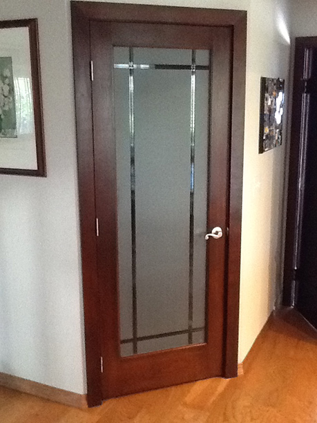 Etched Glass Door with Cherry Finish