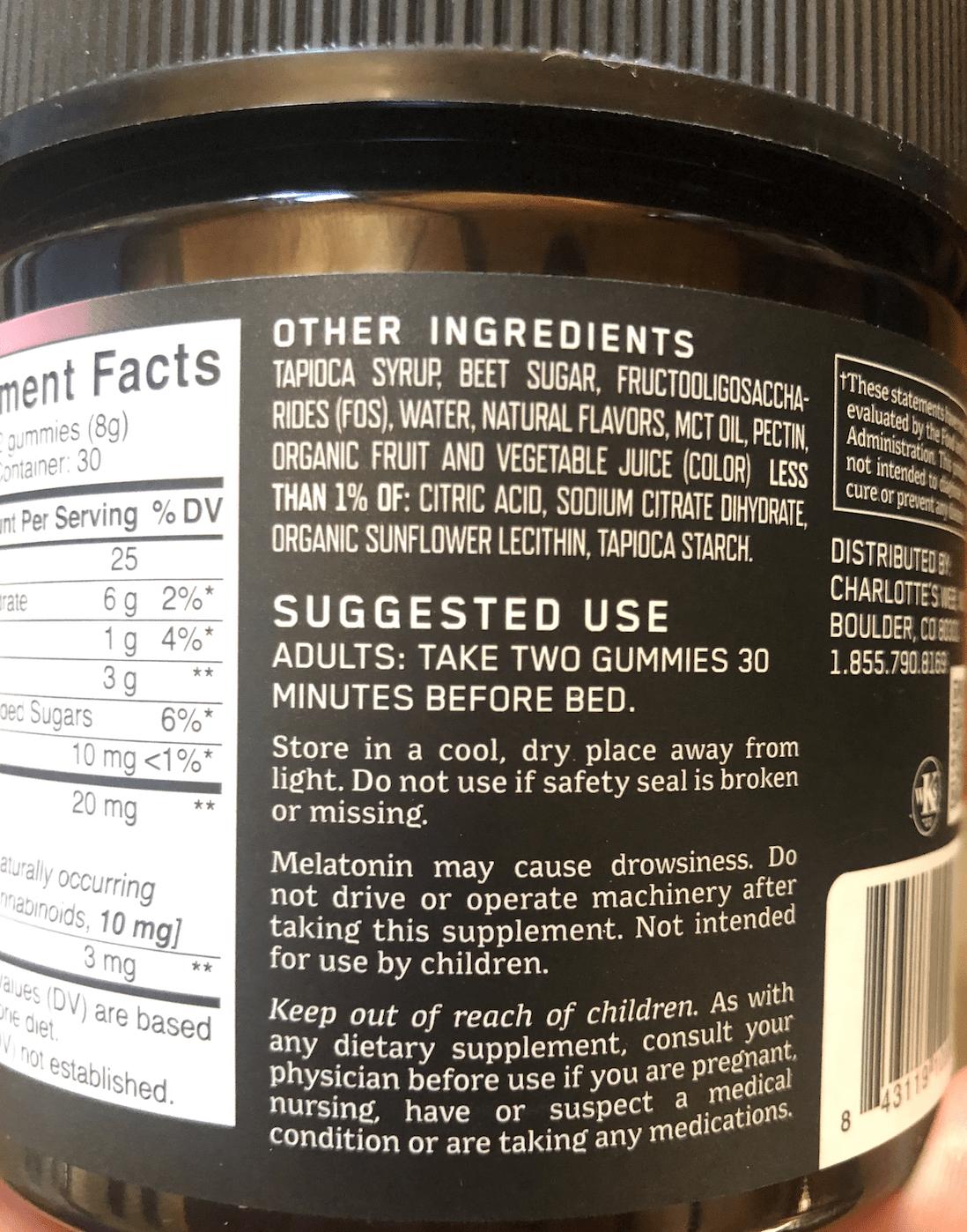 Charlottes Web Ingredients List