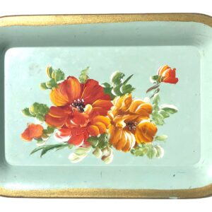 Vintage Small Hand Painted Floral Rolling Tray