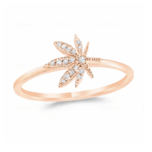Cannabis Flower Pave Ring 14k Rose Gold with .05 Carat Diamonds