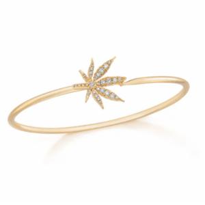 Cannabis Flower Bangle Bracelet with Diamonds
