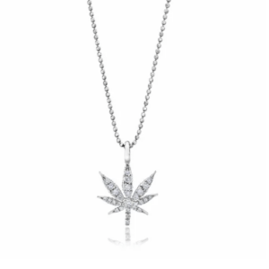 Large Cannabis Flower Necklace With Diamonds