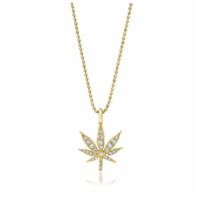 Small Cannabis Leaf Necklace with Diamonds