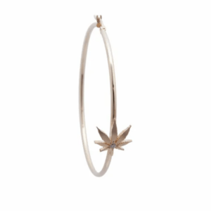 Gold Cannabis Hoop Earring With Center Diamond
