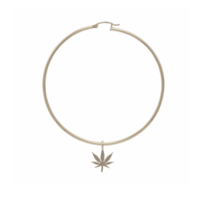 14k Yellow Gold Hoop Earrings With Cannabis Charm