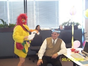 {Chicago Singing Telegrams} Chicken Singing Telegram $125.  Call (847) 256-9474