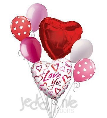 {Valentine's Balloon Delivery} Send a balloon bouquet with red hearts, latex helium balloons and gorgeous Mylar balloons. $79.67