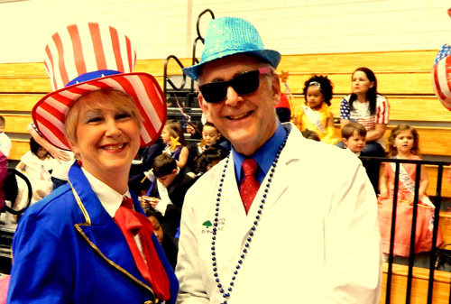 School Principal Liz Winslow, dressed as Uncle Sam. with Coroner Dr. Bryan Bertucci.