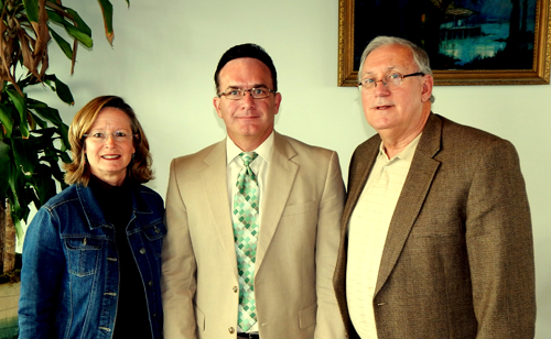 District Attorney Perry Nicosia, center, was guest speaker at the St. Bernard Anti-Drug Coalition monthly meeting. At left is Polly Campbell, Program Director for the Coalition; and at right is Chairman Dan Schneider.