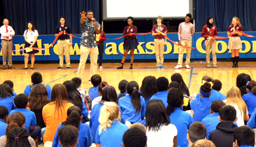 Cory Hicks, a minister and former drug addict and dealer, speaks to students at Andrew Jackson Middle.